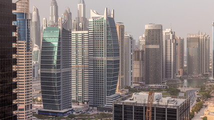 Foto op Canvas Verenigde Staten Residential apartments and offices in Jumeirah lake towers district timelapse in Dubai
