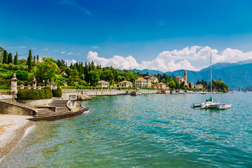 Shore of Lake Como in Tremezzo Town, Lombardy region, Italy
