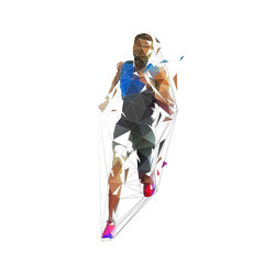 Running man, low poly vector illustration. Abstract geometric runner, front view