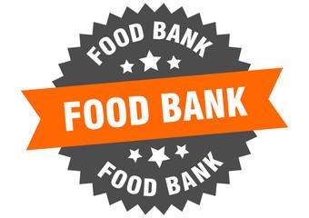 food bank sign. food bank orange-black circular band label