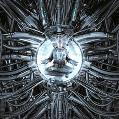 Time portal harmony / 3D illustration of science fiction scene showing peaceful astronaut meditating inside complex futuristic alien machine