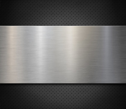 Brushed steel or aluminum metal panel over perforated background 3d illustration
