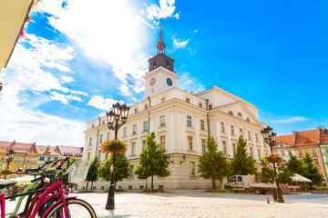 Old town square with town hall in city of Kalisz, Poland