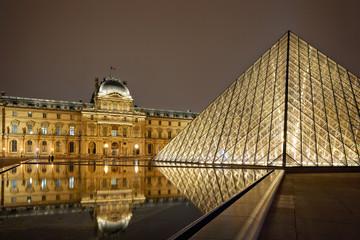 Night view of Louvre Art Museum, Paris, France.