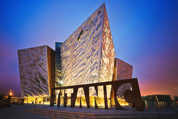 Sunset over Belfast Titanic, Belfast, Northern Ireland, UK