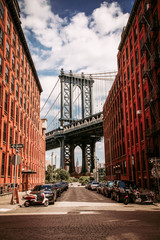 Manhattan bridge seen from a Washington Street in Brooklyn