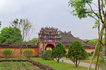 One of the gates to the inner area of Purple Forbidden city (Imperial Citadel) in Hue, Vietnam