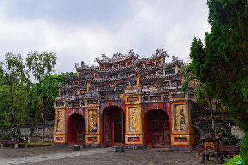 Cua Tho Chi gate in Purple Forbidden city (Imperial Citadel) in Hue, Vietnam
