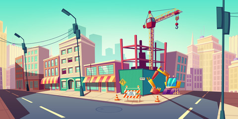 Construction site with building crane on empty city street with excavator fenced traffic cones and road closed warning sign. Engineering works in town, architecture project Cartoon vector illustration