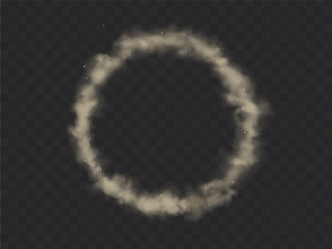 Smoke circle, round smog cloud, brown heavy dust steam with motes, sand and soil particles isolated on transparent background. Cigarette vapor design element Realistic 3d vector illustration, clip art