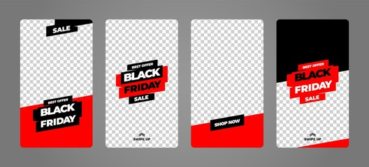 Stories template set for black friday, presentation, flyer, poster, invitation. Screen backdrop for mobile app. Instagram story mockup.