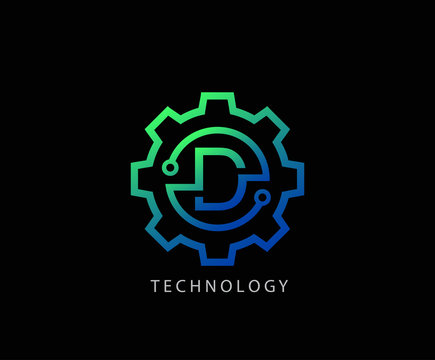 Letter D Gear technology vector logo template. This logo is suitable for factory, industrial, technology, website, digital, mechanic, wheel.