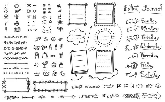 Bullet journal doodle set - hand drawn divider, icon, border decoration