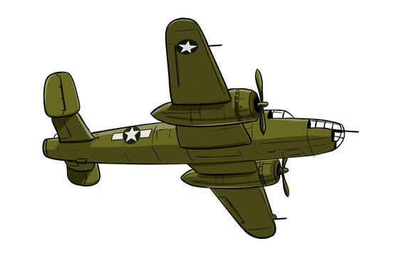 Airplane - coloured drawing illustration of old type aircraft of bomber type.