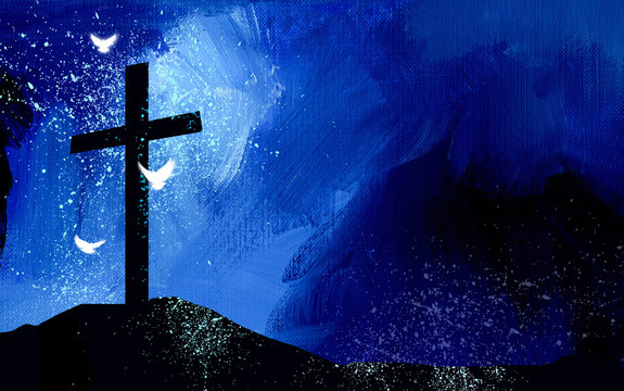 Graphic Christian Cross silhouette and spiritual doves against abstract texture background