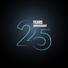 25 years anniversary vector logo, icon. Graphic design element with neon number