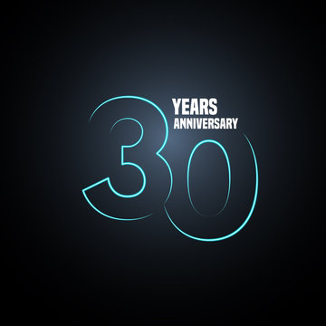 30 years anniversary vector logo, icon. Graphic design element with neon number