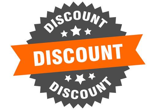 discount sign. discount orange-black circular band label