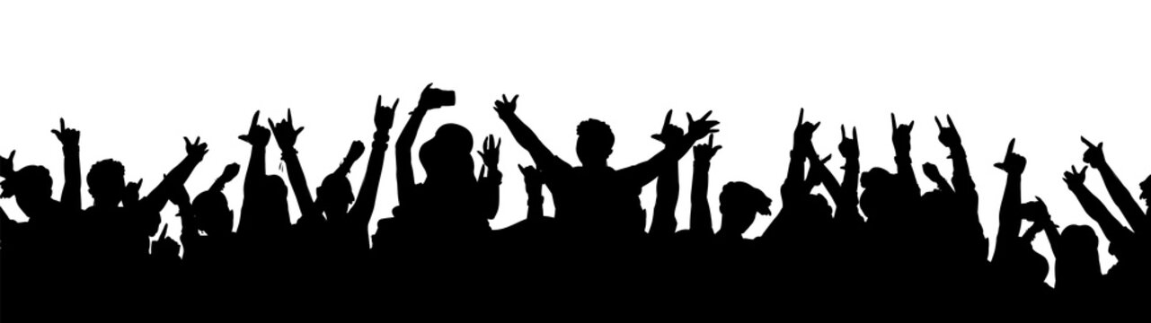Black music fan crowd silhouette - cartoon people cheering at rock concert