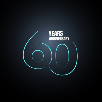 60 years anniversary vector logo, icon. Graphic design element with neon number