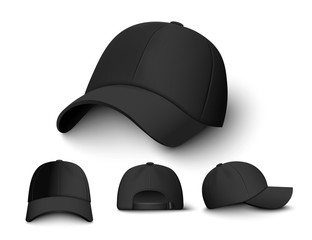 Realistic black cap mockup set from front, back and side view