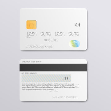 White credit card design mockup - front and back view se