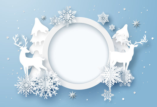 Paper art of winter holiday card with snowflakes and reindeer, Merry Christmas and Happy New Year