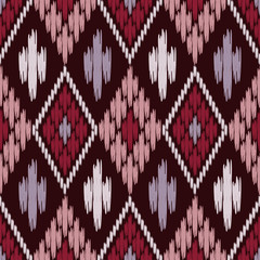 Ikat. Seamless pattern. Traditional ornament. Geometric background. Vector illustration for web design or print.