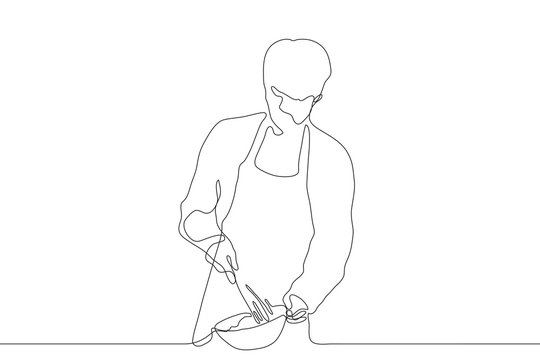One continuous line art.The cook holds a mixing bowl and a whisk. A young man in an apron with a whisk, with his other hand holds a plate. Can be used for animation. Vector