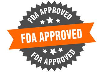 fda approved sign. fda approved orange-black circular band label