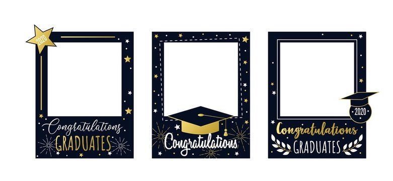 Congratulations graduates 2020 frame set vector illustration. Colorful photo booth with festive stars and teaching attributes, bachelor caps and golden font inscription. End of school concept