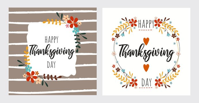 Happy thanksgiving day greeting card set vector illustration. Poster decorated by foliage and heart symbol, writing text lettering for holiday. Postcard in autumn style and pattern
