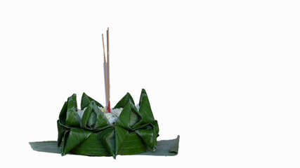 The Krathong that uses banana leaves for Krathong Day. In the Krathong Day, the tradition of Thai people