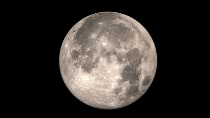 Full moon. Black background.. Elements of this image furnished by NASA.