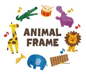 水彩の動物と楽器のフレーム