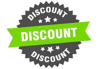 discount sign. discount green-black circular band label
