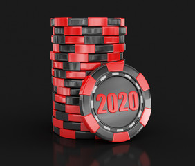chip of casino 2020. Image with clipping path