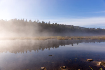 Lake in Algonquin national park ontario canada with foggy mystical atmosphere