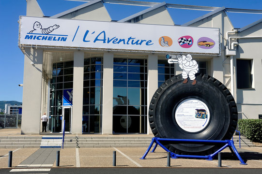 Clermont-Ferrand, France – September 4, 2019: Large tire of mine engine exposed at the entrance of the Michelin Museum