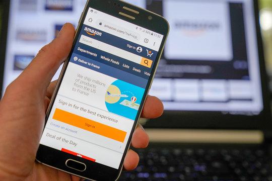 Amazon mobile application on screen of smartphone