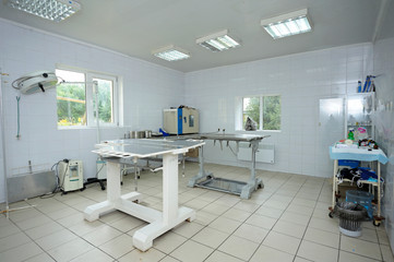 Med table, lamps and other medical equipment set  at the veterinary office