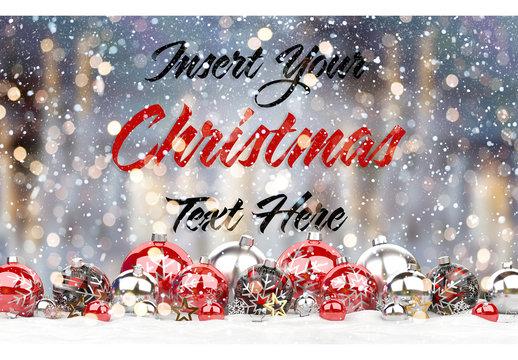 Web Christmas Card Mockup with Ornaments