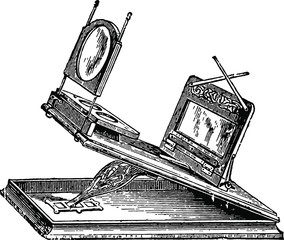 Graphoscope magnifier Vintage Woodcut from 1871 - English Mechanic and World of Science - Antique Image
