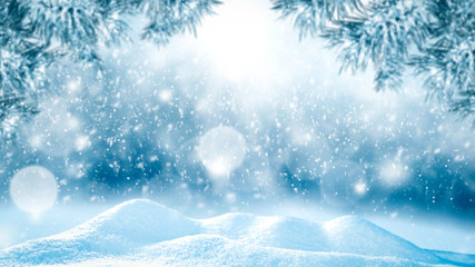 Snow background and free space for your decoration.