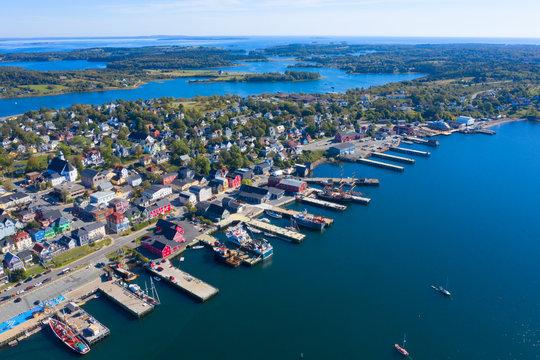Drone aerial view of Lunenburg, Nova Scotia, Canada