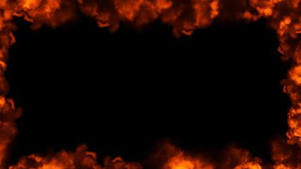 Frame of real fire flames burn motion smoke . Border texture overlays. Design element.