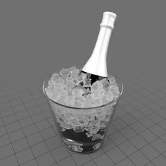 Champagne bottle in ice container