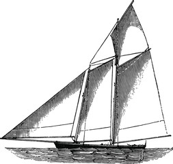 Sailboat Drawing - English Mechanic 1872 - vintage art woodcut from the 19th Century.
