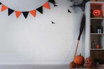 Halloween holiday concept background with copy space