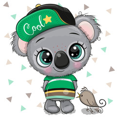 Cartoon baby Koala in a cap with bird on a white background